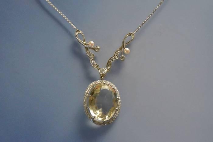 Collier citrine, perles et diamants