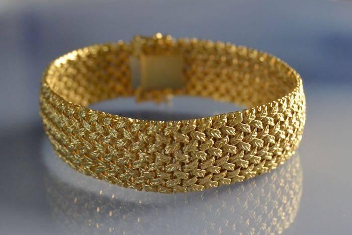 Bracelet manchette or tressé 18k