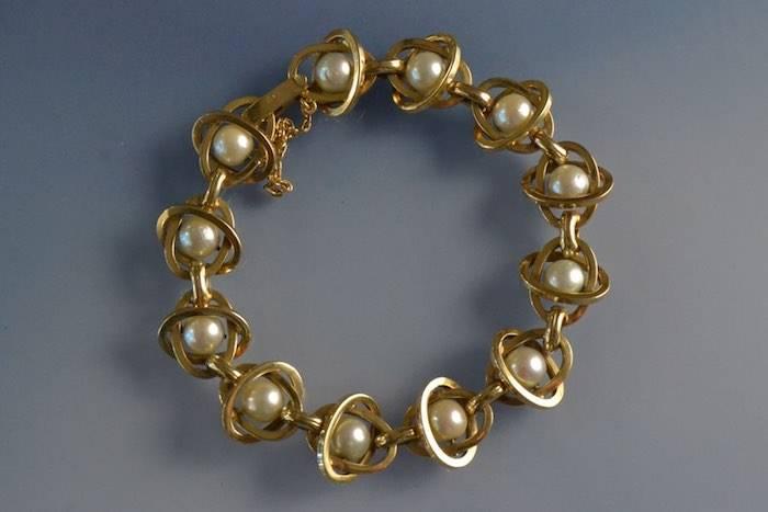 Bracelet années 50 or et perles