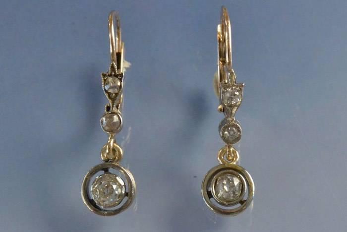 Boucles d'oreilles Art déco or et diamants
