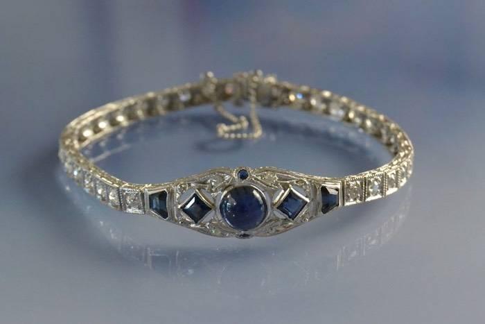 Bracelet Art déco platine saphirs et diamants