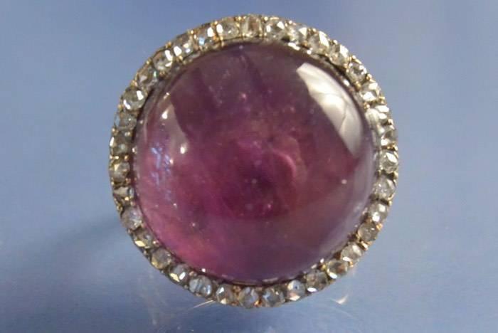 Bague ancienne améthyste et roses de diamants