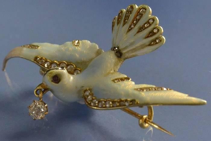 Broche oiseau 1900 émail et diamant