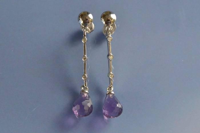 Boucles d'oreilles améthystes briolettes et diamants