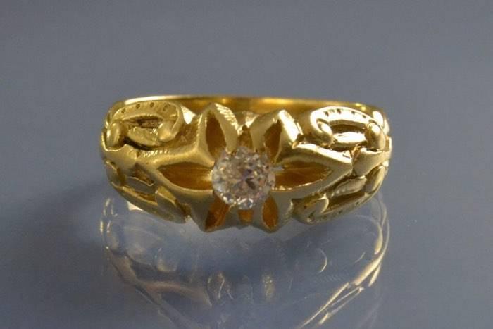 Bague jonc 1900 pour homme or et diamant