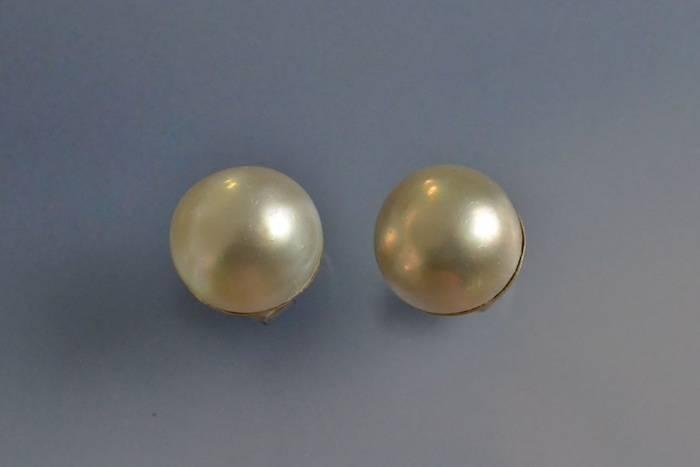 Boucles d'oreilles anciennes perles mabés