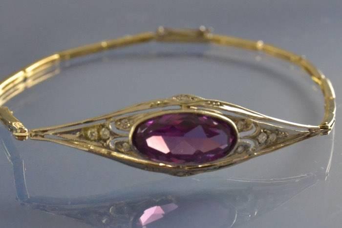 Bracelet 1930 améthyste et roses de diamants