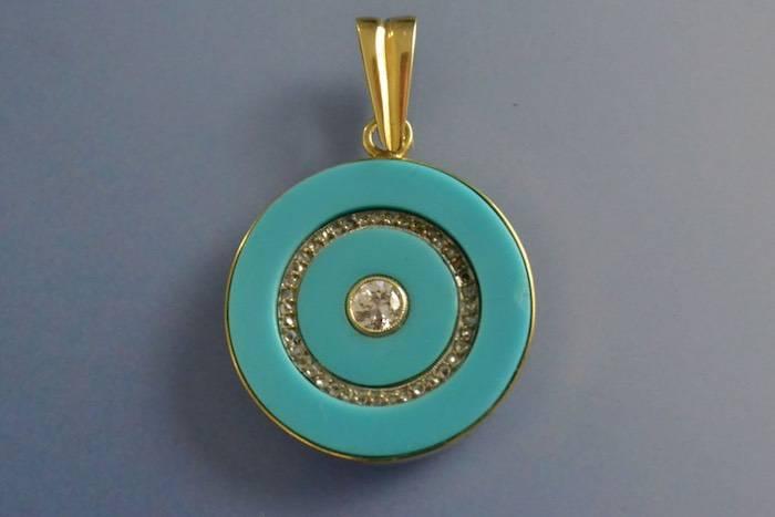 Pendentif Art déco turquoise et diamants