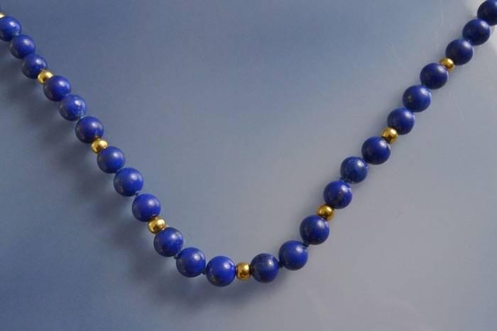 Collier Dinh Van lapis lazuli et perles d'or