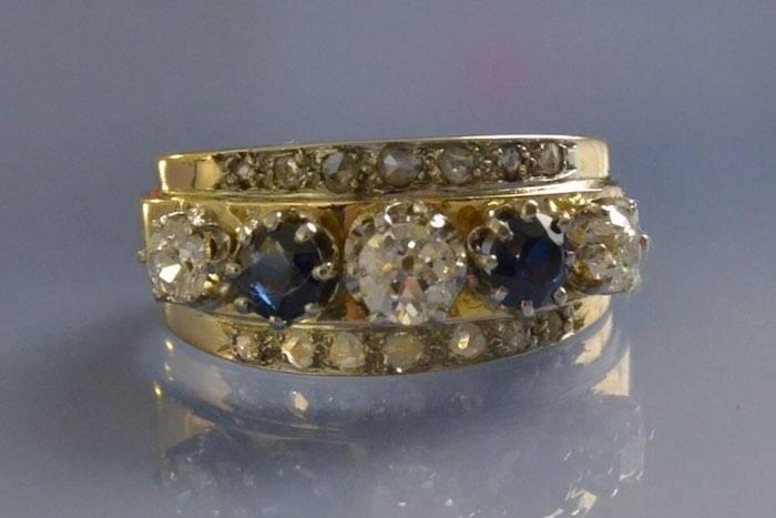 Bague années 50 saphirs et diamants