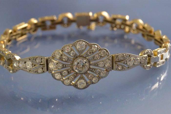 Bracelet art déco deux ors et diamants