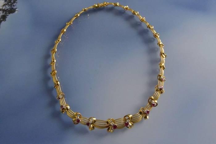 Collier années 50 rubis et diamants
