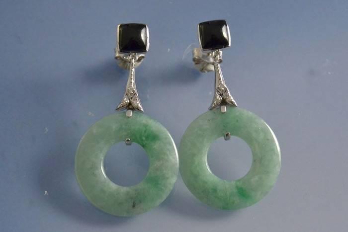 Boucles d'oreilles jade onyx et diamants