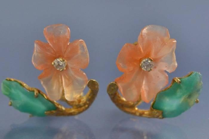 Boucles d'oreilles anciennes fleurs