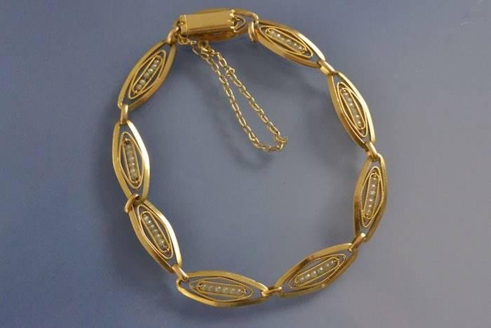 Bracelet ancien or maillons olive et perles