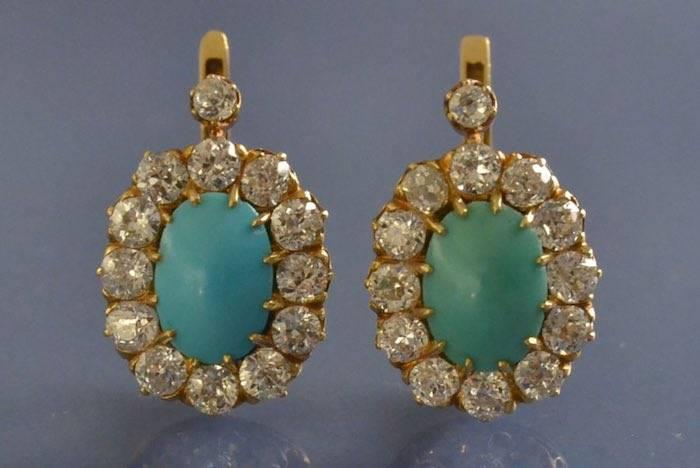 Boucles d'oreilles anciennes Turquoises et diamants