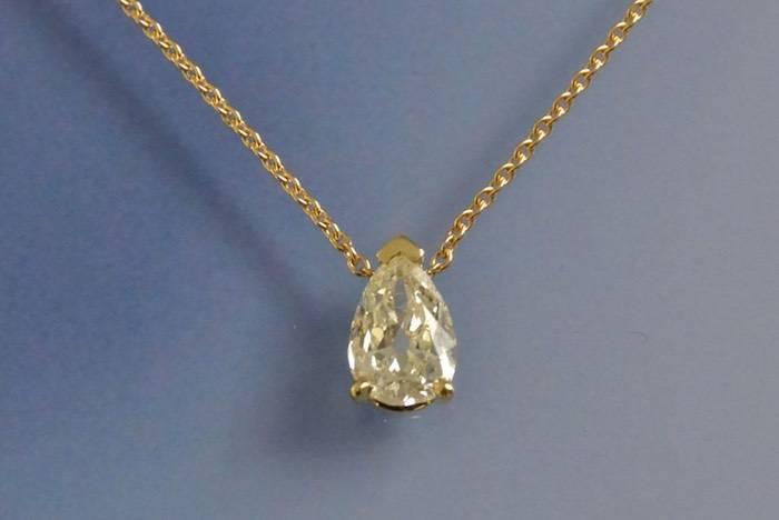 Collier et pendentif diamant goutte
