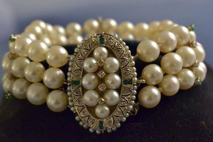 Bracelet ancien perles émeraudes et diamants