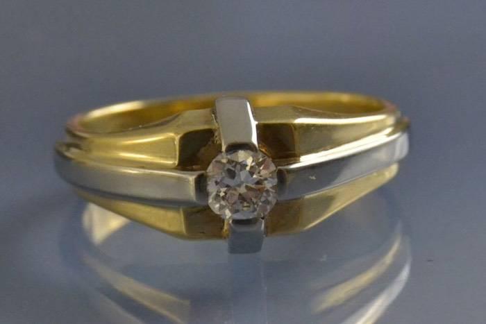 Bague homme ancienne or et diamants
