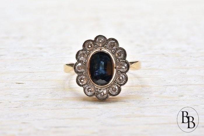 Bague ancienne saphir et diamants d'occasion