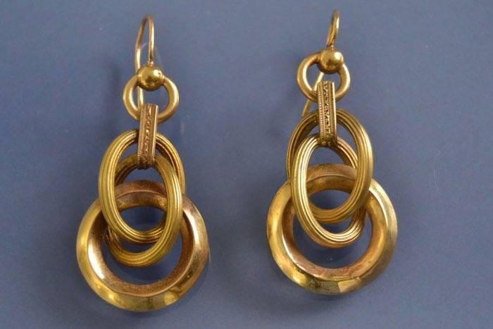 Boucles d'oreilles anciennes 3 anneaux