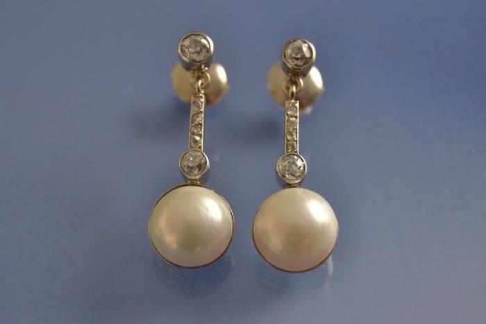 Boucles d'oreilles art déco perles et diamants