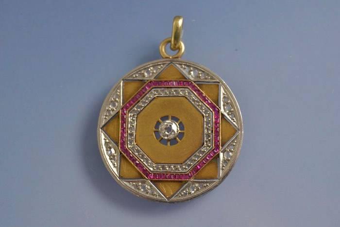 Pendentif 1930 rubis et diamants