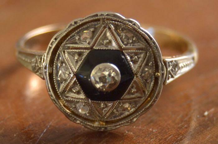Bague art déco onyx et diamants