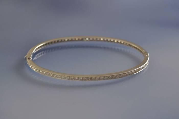 Bracelet tour complet or blanc et diamants