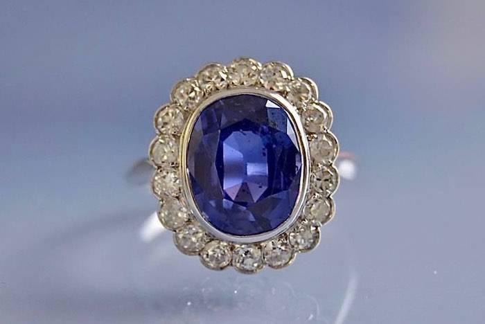 Bague ancienne saphir et diamants