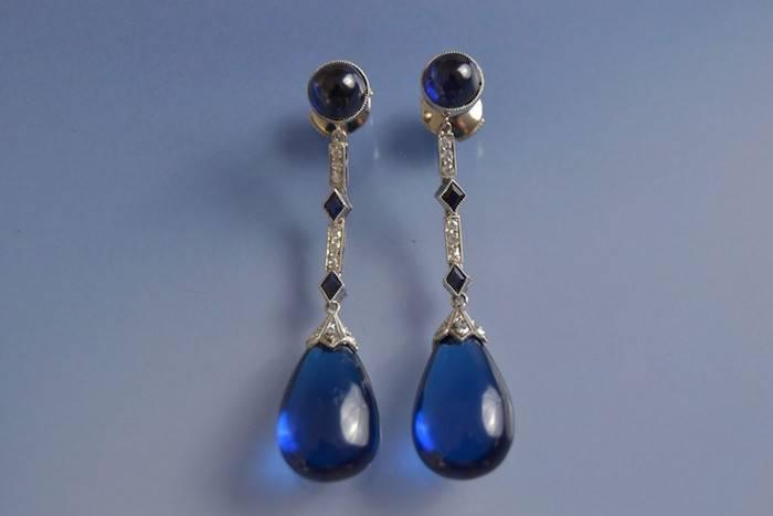 Boucles d'oreilles Art déco verres et diamants