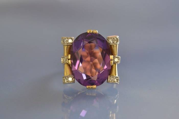 Bague ancienne améthyse et diamants