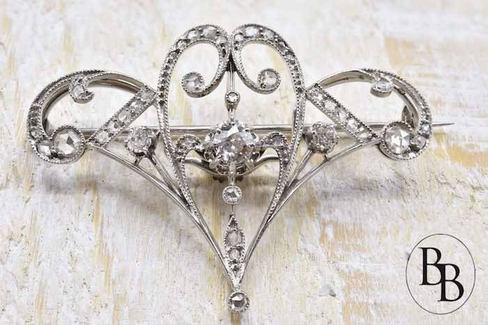 Broche Art nouveau diamants