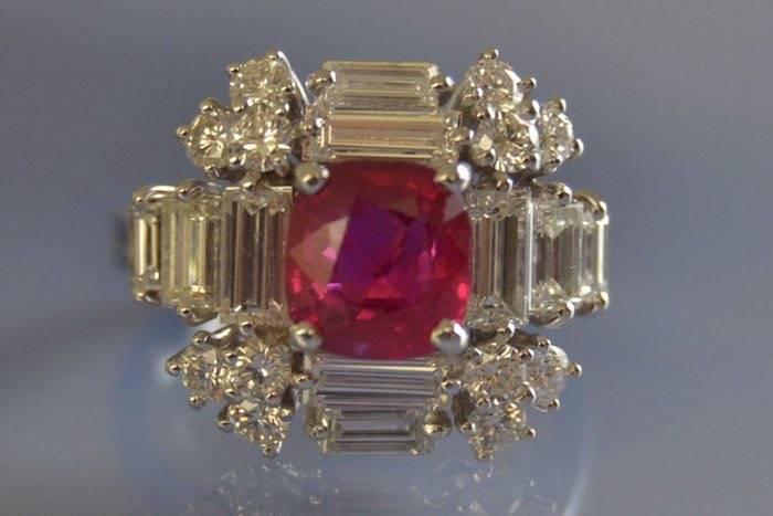 Bague d'occasion rubis diamants