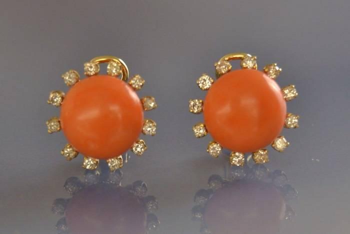 Boucles d'oreilles corail et diamants 1960