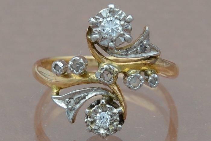 Bague ancienne diamants en or 18k