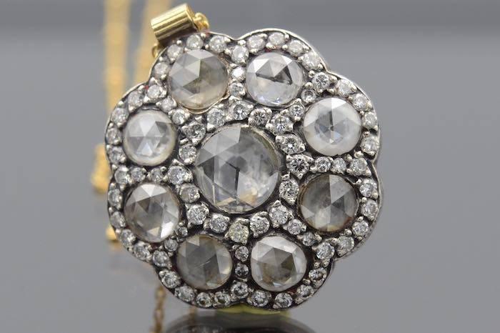 Chaine pendentif diamants or et argent