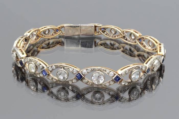 Bracelet Art Déco diamants en platine