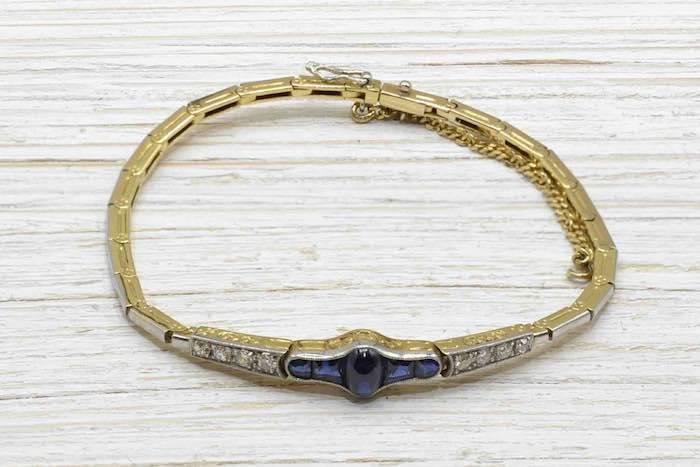 Bracelet Art Deco saphirs diamants