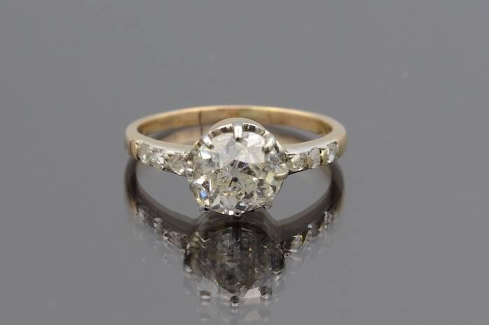 Solitaire diamant taille ancienne de 1,8cts