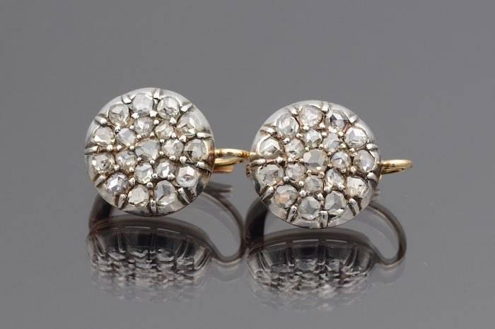 Boucles d'oreilles diamants or et argent