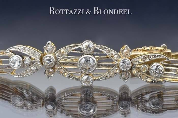 Bracelet Art Déco diamants en platine et or jaune