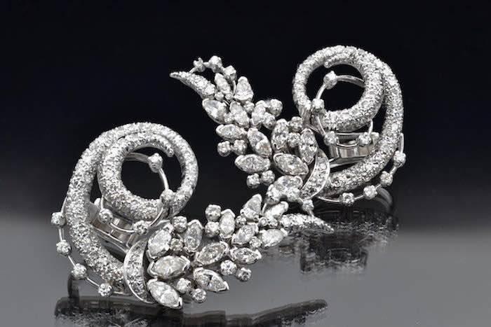 Boucles d'oreilles 1950 diamants