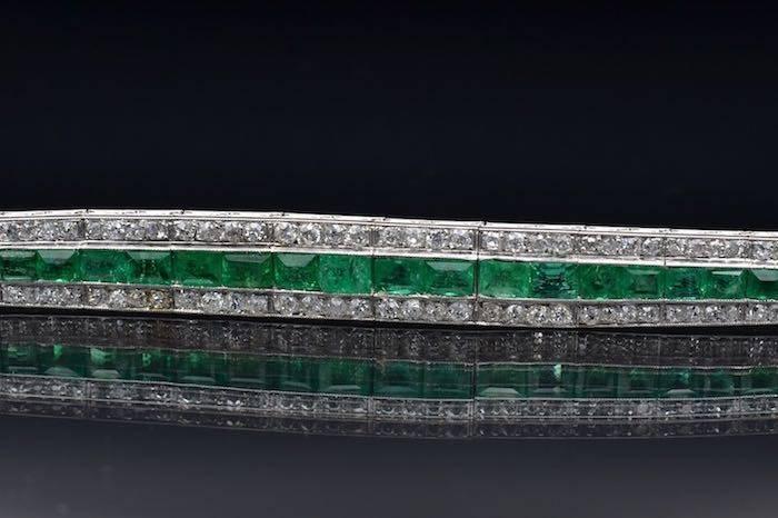 Bracelet Art Déco émeraudes diamants