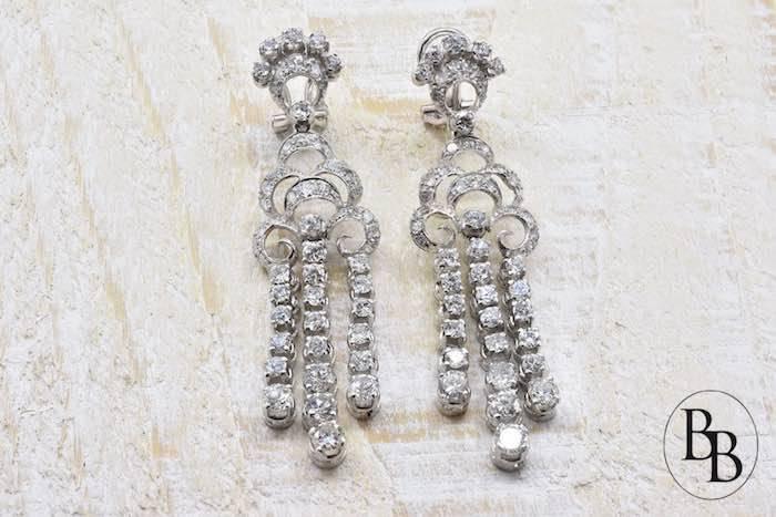 Boucles d'oreilles diamants en or blanc 18k