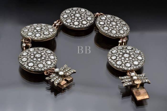 Bracelet ancien diamants en or argent