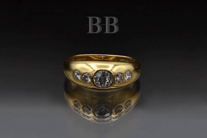Bague jonc diamants en or jaune