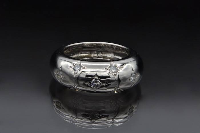 Bague diamants jonc en or blanc 18k