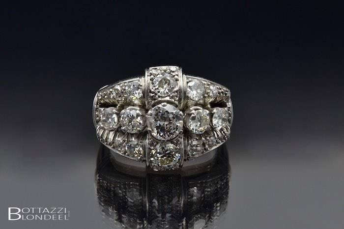 Bague 1940 diamants en platine