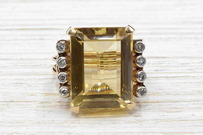 Bague 1940 citrine et diamants en or jaune 18k